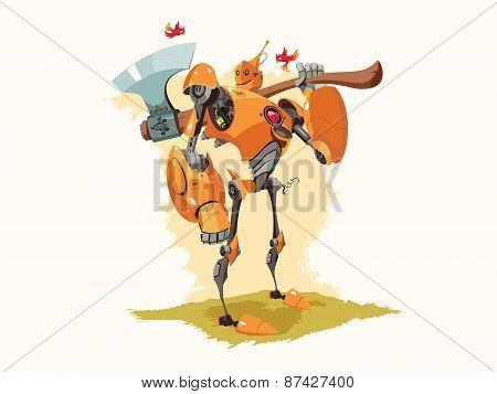 Tin Woodman Robot Vector Illustration