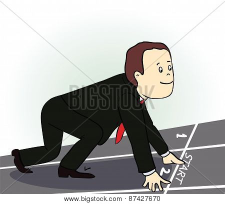 Young  businessman standing in start position. Vector illustration