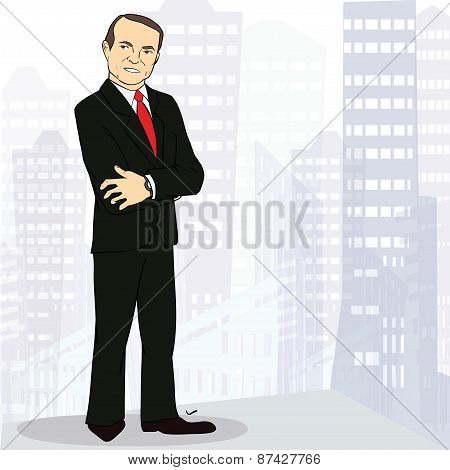 Experienced and confident businessman in big city. Colorful Vector illustration. Image with place fo