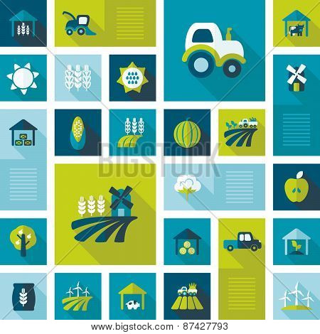 Colorful Farm Field Flat Icon With Long Shadow