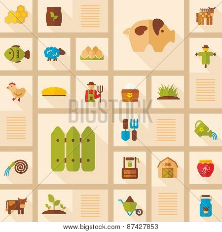 Colorful Farm Garden Flat Icon With Long Shadow