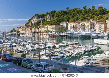 NICE, FRANCE - OCTOBER 2, 2014: Port of Nice is one of the main harbors for the leisure boats sailing across the Mediterranean Sea.