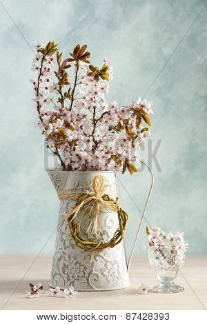 Spring cherry blossom in jug and antique glass