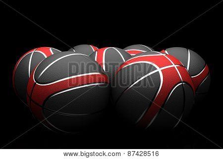 Basketballs isolated on black background