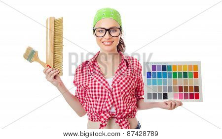 Woman Holding Paintbrush And Color Samples For Selection, Isolated On White. Female Worker Choosing