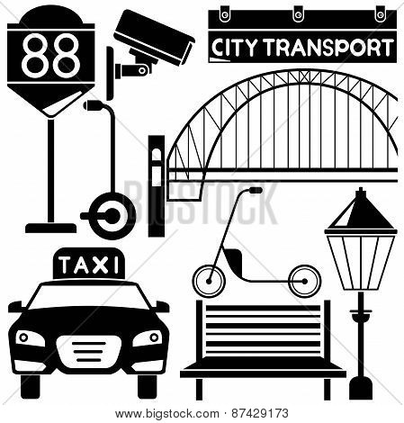silhouette taxi and traffic sign