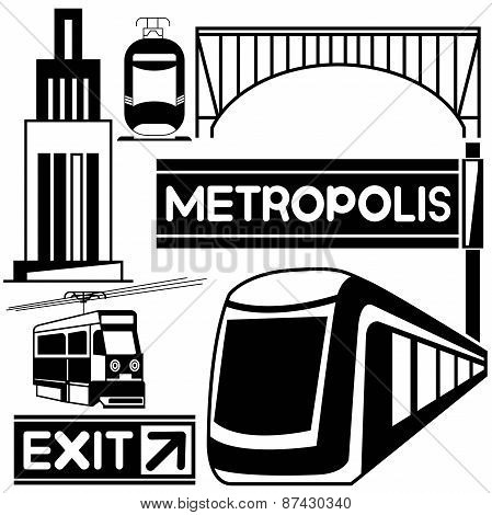 silhouette train and traffic sign