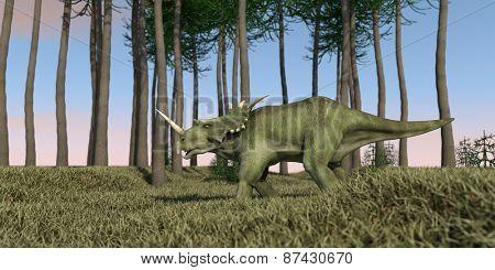 styracosaurus walking in green grass