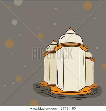 Illuminated arabic lanterns on grey background for Islamic holy month of prayers, Ramadan Kareem celebrations.