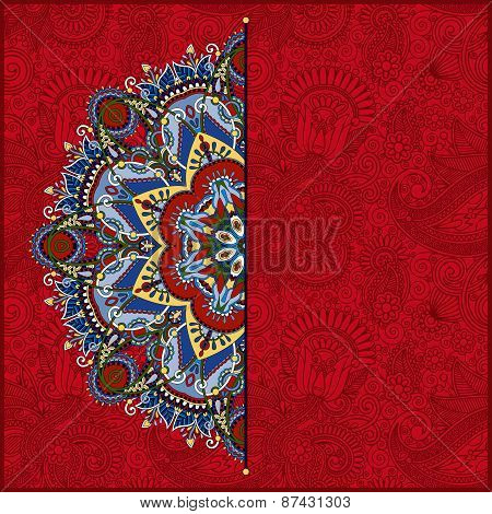 red round pattern in ukrainian oriental ethnic style