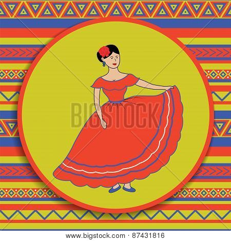 Mexican Woman On Patterned Background