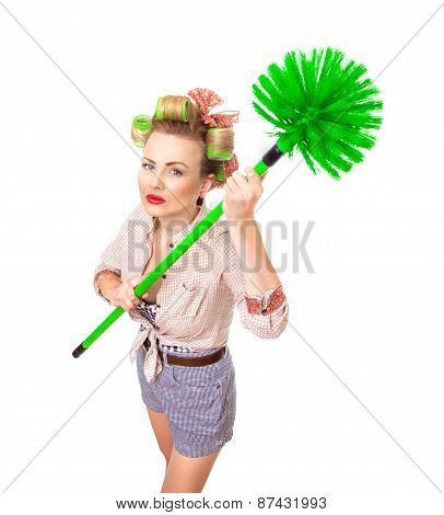 Funny Housewife / Girl With Broom, Isolated On White. Above Shot Of A Domestic Woman