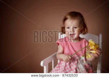 Cute Baby Girl With Flower