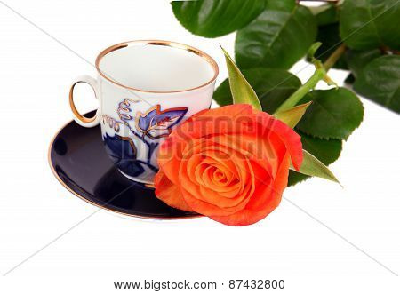 Orange Rose With Blue Coffe Cup