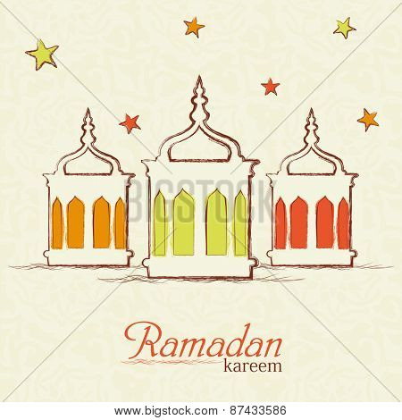Colorful illuminated lanterns on star decorate beige background for Islamic holy month of prayers Ramadan Kareem celebrations.