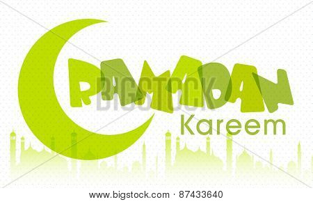 Holy month of muslim community, Ramadan Kareem celebration poster, banner or flyer with moon and islamic mosque.