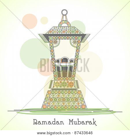 Colorful arabic lamp or lantern on abstract background for holy month of muslim community, Ramadan Kareem celebration.