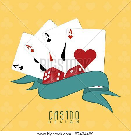Ace playing cards with dices and ribbon for Casino on yellow background.