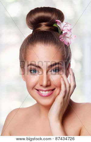 Beauty Young Woman Putting On Concealer Under Eyes