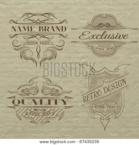 Set Of Vintage Emblem, With Space For Text.