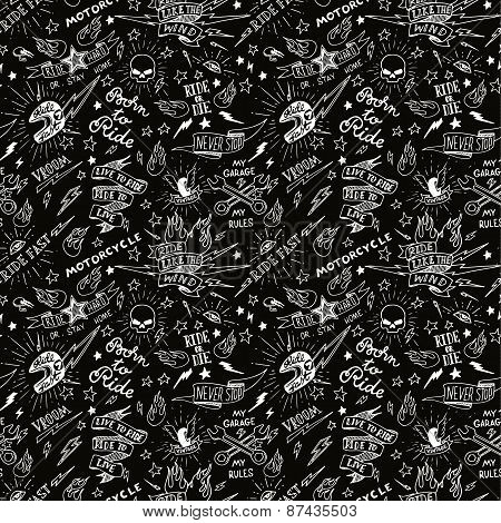Traditional tattoo biker pattern