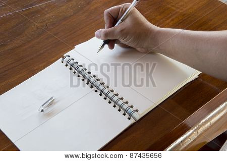 Man Working Table Book Pen Booklet Concept