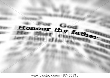 Detail closeup of New Testament Scripture quote Honor Thy Father