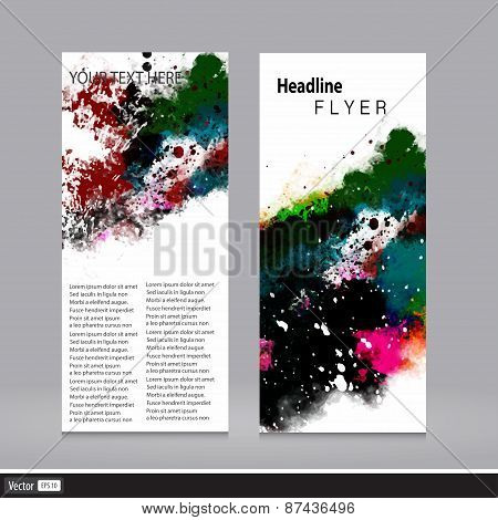 Abstract Vector Design Template Grunge Flyer. Watercolor Artistic Concept.