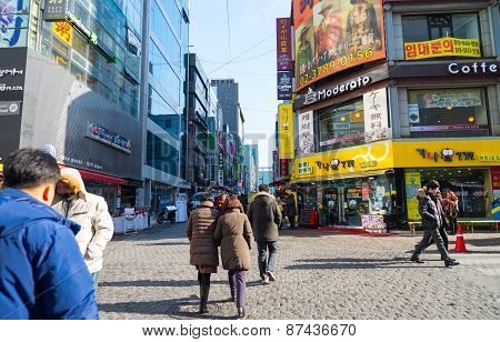 People Walking Around Myeongdong ,famous Shopping Street In Seoul Capital Of South Korea