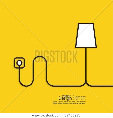 Floor lamp wire connected  power outlet.