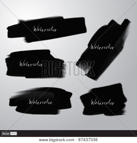 Realistic Black Texture Brush. Vector Watercolor Illustration