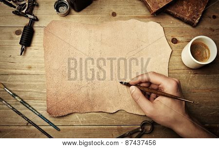 Piece Of Leather With Hand Drawing
