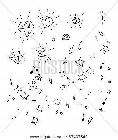 Set of and drawn tattoo design elements