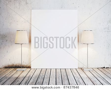 Canvas And Two Lamps Near The Wall. 3D Rendering.