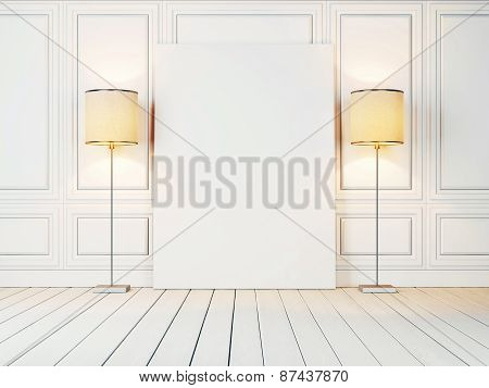 White Canvas And Two Lamps In The White Room. 3D Rendering.