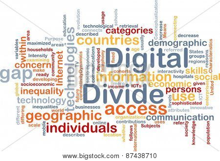 Background text pattern concept wordcloud illustration of digital divide