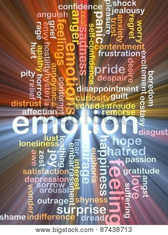Background text pattern concept wordcloud illustration of emotion feelings glowing light