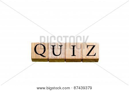 Word Quiz Isolated On White Background With Copy Space