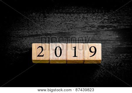 Year 2019 Isolated On Black Background With Copy Space