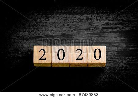 Year 2020 Isolated On Black Background With Copy Space