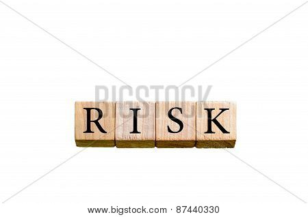 Word Risk Isolated On White Background With Copy Space
