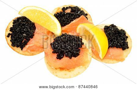 Salmon And Caviar Blini Pancakes