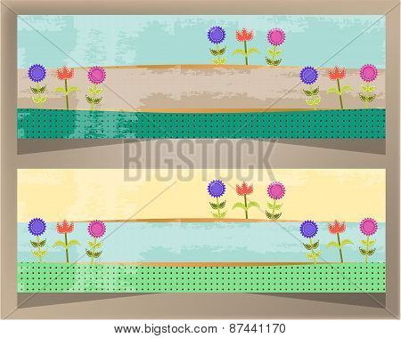 Set, collection of two modern banners with pattern and colorful flowers