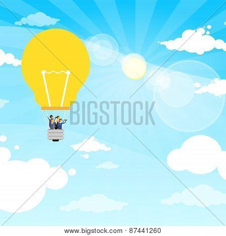 Business People Group Fly Air Baloon Light Bulb Idea