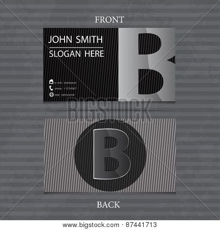 Creative Metal Business Card Letter B. Vector Illustration With Lines.