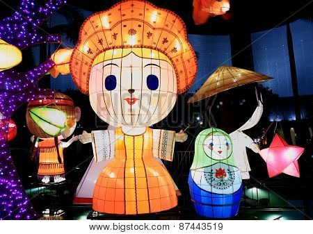Chinese lantern cartoon figure