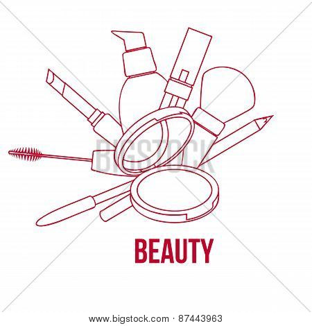 Beauty Make Up Tools Set, Contour Vector Illustration