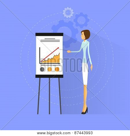 businesswoman show graph flat design vector