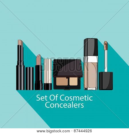 set of cosmetic concealers style flat.