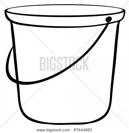 Close up empty bucket with handle